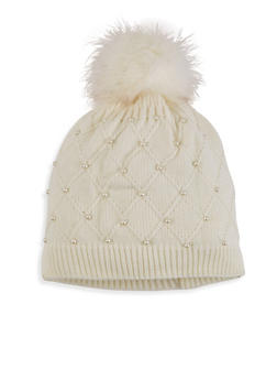Studded Knit Pom Pom Beanie - WHITE - 3119042740015
