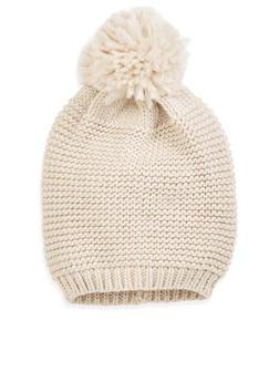 Knit Pom Pom Beanie - OATMEAL - 3119067441547