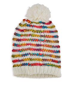 Multi Color Striped Knit Beanie - 3119067444805