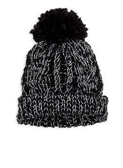 Shimmer Knit Pom Pom Beanie - BLACK - 3119067444810