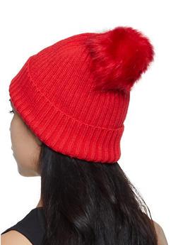 Rib Knit Pom Pom Beanie - 3119067444900
