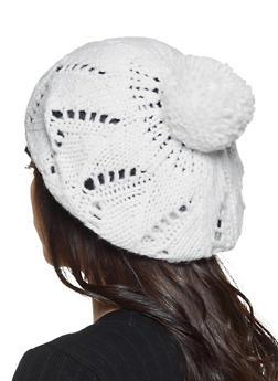 Knit Pom Pom Beret - 3119067444907