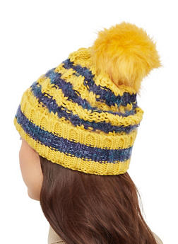Striped Knit Pom Pom Beanie - 3119067444917