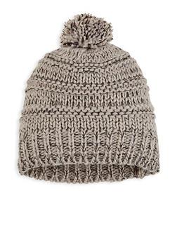 Marbled Knit Pom Pom Beanie - GRAY - 3119067447174