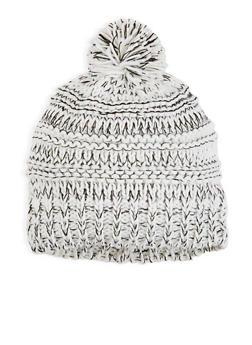 Marbled Knit Pom Pom Beanie - 3119067447174