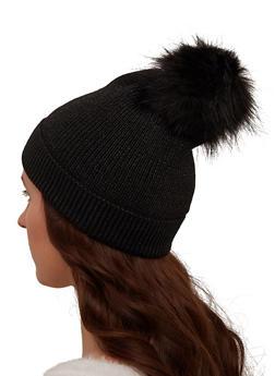Lurex Knit Pom Pom Beanie - 3119071211803