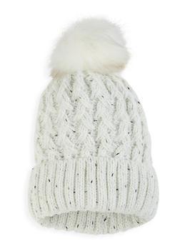 Pom Pom Knit Beanie - WHITE - 3119071212014