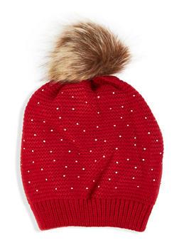 Rhinestone Studded Knit Beanie - RED - 3119071212020