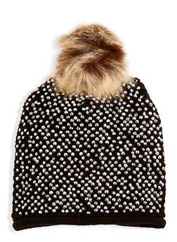 Studded Faux Fur Pom Pom Beanie - 3119071218001