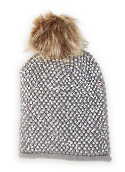 Studded Faux Fur Pom Pom Beanie - GRAY - 3119071218001