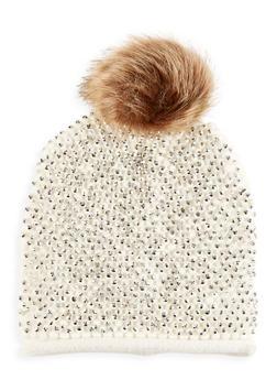 Studded Faux Fur Pom Pom Beanie - IVORY - 3119071218001