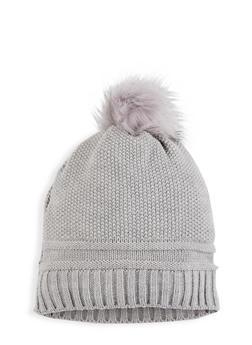 Pom Pom Knit Beanie - GRAY - 3119071218021