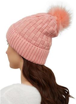 Woven Knit Pom Pom Beanie - 3119071218031
