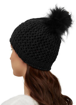 Lurex Perforated Knit Pom Pom Beanie - 3119071218036