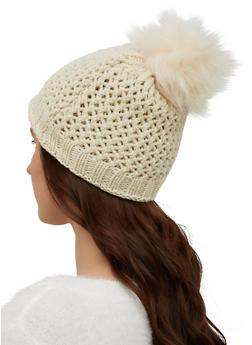 Lurex Perforated Knit Pom Pom Beanie - 3119071218036