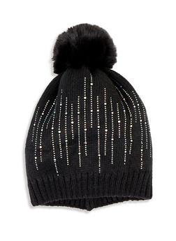 Rhinestone Studded Pom Pom Knit Beanie - 3119074391244