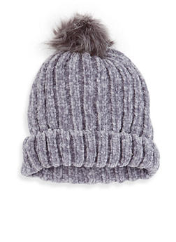 Faux Fur Pom Pom Chenille Beanie - GRAY - 3119074392217