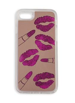 Lip Stick Glitter Waterfall iPhone Case - 3120066417373