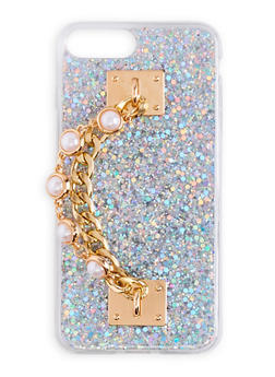 Faux Pearl Chain Glitter iPhone Case - 3120066417643