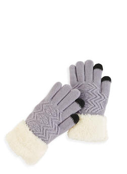 Knit Faux Fur Cuff Gloves - 3121042740010