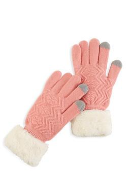 Knit Faux Fur Cuff Gloves - 3121042740010