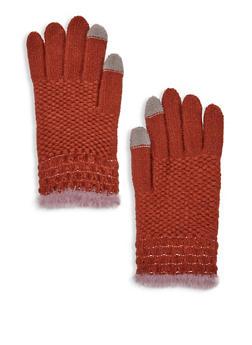 Popcorn Knit Faux Fur Trim Gloves - 3121042740219