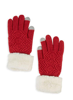 Textured Knit Cuffed Gloves - 3121042741019