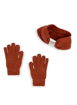 Rhinestone Knot Head Wrap and Gloves - 3121042741111