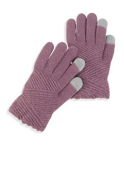 Textured Knit Gloves - MAUVE - 3121042741551