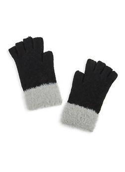 Faux Fur Trim Fingerless Gloves - 3121042741901