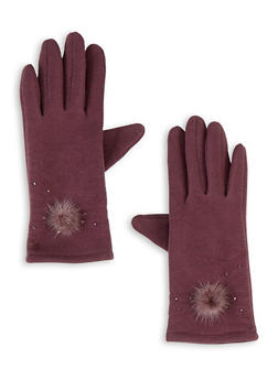Pom Pom Jersey Knit Gloves - 3121042745100