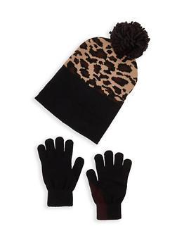 Leopard Pom Pom Beanie and Gloves - 3121067441900