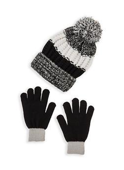 Color Block Pom Pom Beanie and Gloves - 3121067441901