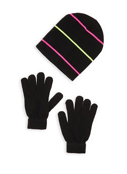 Striped Beanie with Gloves - 3121067441902