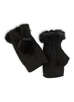 Fingerless Pom Pom Gloves - 3121067442802