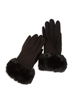 Faux Fur Cuffed Gloves - BLACK - 3121067442803