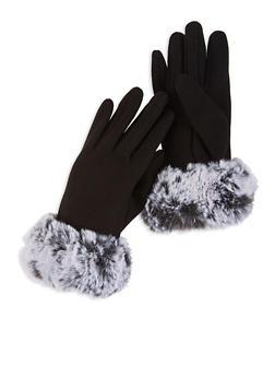 Faux Fur Cuffed Gloves - GRAY - 3121067442803