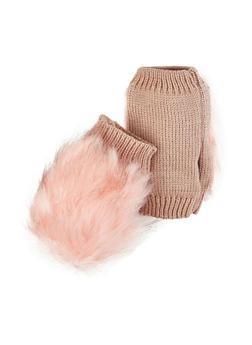 Faux Fur Knit Fingerless Gloves - 3121067442804
