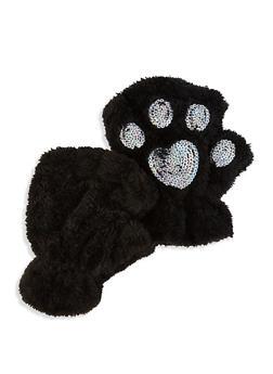 Sequin Fingerless Gloves - BLACK - 3121067442805