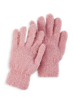 Fuzzy Knit Gloves - MAUVE - 3121067442807