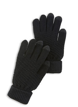 Touch Screen Knit Gloves - BLACK - 3121067442810