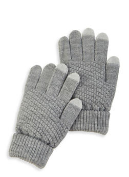 Touch Screen Knit Gloves - GRAY - 3121067442810