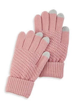 Touch Screen Knit Gloves - MAUVE - 3121067442810