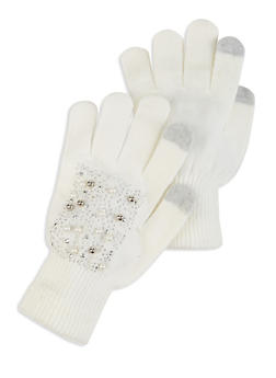Faux Pearl Studded Touch Screen Gloves - WHITE - 3121067442812