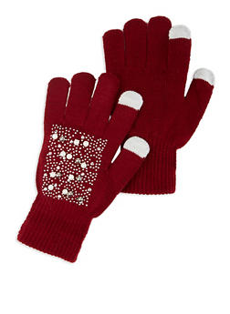 Faux Pearl Studded Touch Screen Gloves - 3121067442812