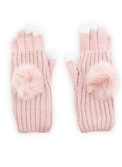 Pom Pom Convertible Gloves - MAUVE - 3121067442814