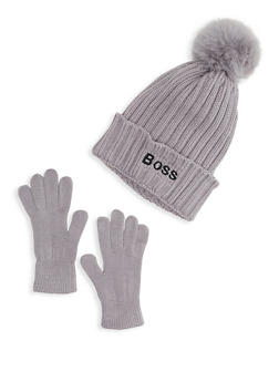 Boss Embroidered Beanie and Gloves Set - 3121074391204