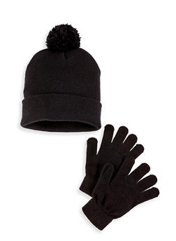 Knit Pom Pom Beanie and Gloves Set - BLACK - 3121074397219