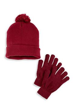 Knit Pom Pom Beanie and Gloves Set - 3121074397219