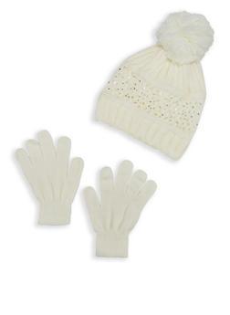 Rhinestone Studded Pom Pom Beanie with Gloves - 3121074398444